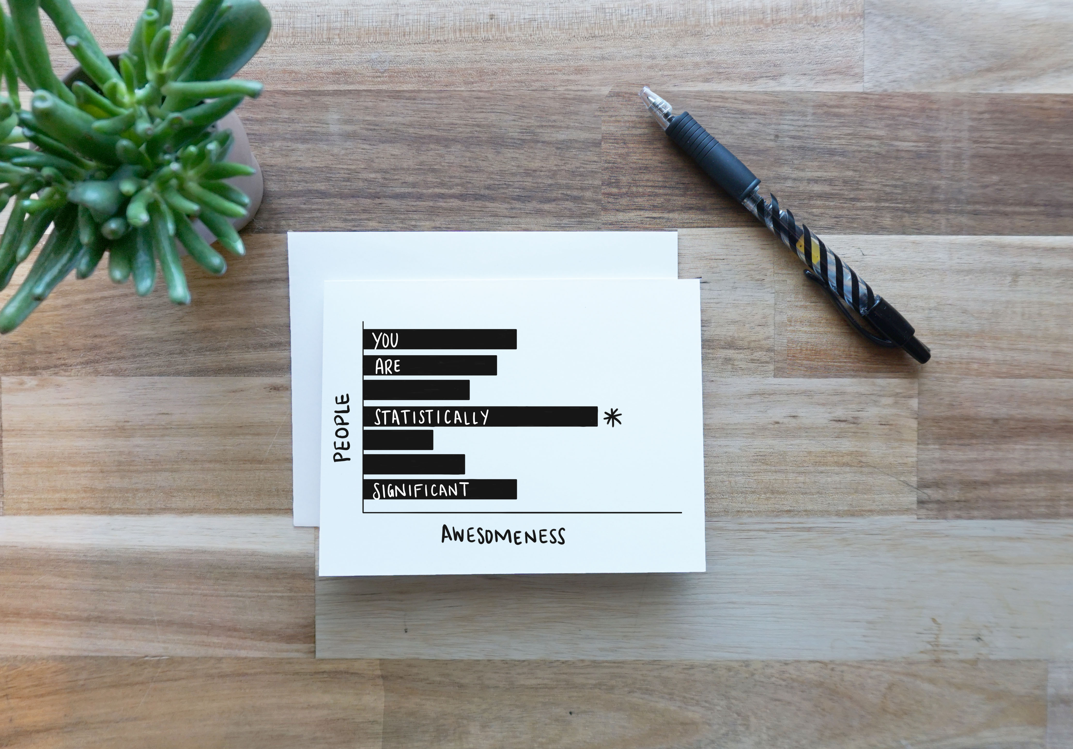 """A card sits on top of a wooden tabletop between a small succulent to the left and a black Pilot G2 pen on the right. The card, sitting atop a white envelope, shows a horizontal bar graph with an x-axis labeled """"Awesomeness"""" and a y-axis labeled """"People."""" Seven bars extend to the right side of the card from their origin at the y-axis, with the words """"You are statistically significant"""" written in white all caps on the bars. The longest bar has an asterisk to the right of it."""